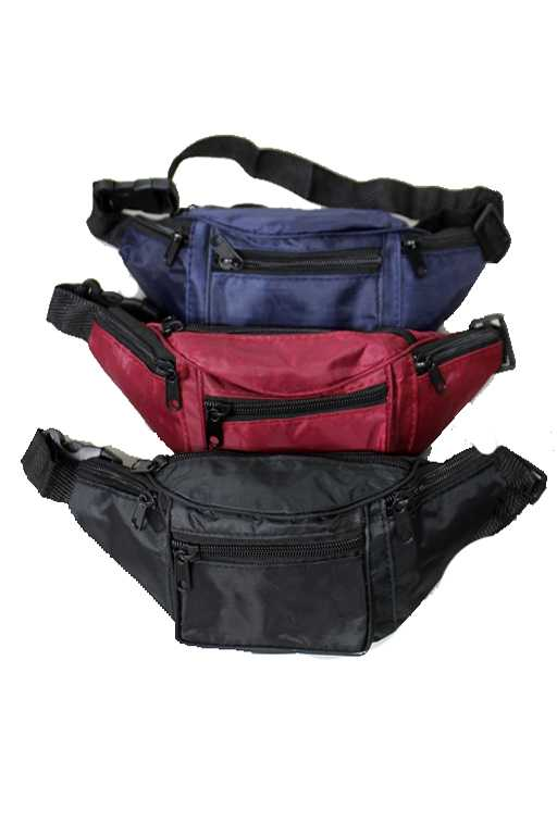 Plain Color Three Way Zipper Design Fanny Pack