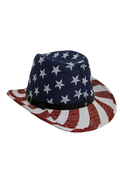 e782c78d62c American Flag Design Strong Toyo Straw Cowboy Style Hat