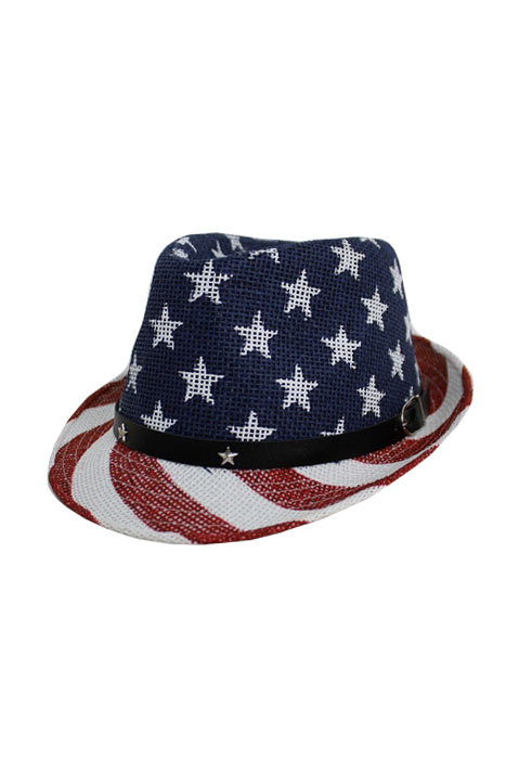 American Flag Design Strong Toyo Straw Fedora Hat