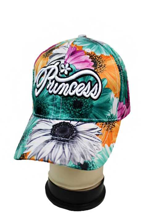 """Princess"" Lettered Sun Flower Patterned Baseball Cap for Kids and Juniors"