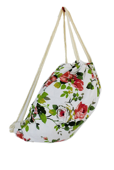 Valley Of Floral Print Drawstring Canvas Back Packs