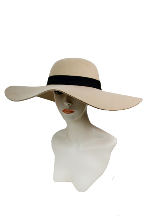 Plain Color Big Brim Thick Soft Felt Beautiful Floppy with Band