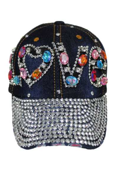 LOVE Multi Crystal and Rhinestone Bling Bling studs Denim Washing cap