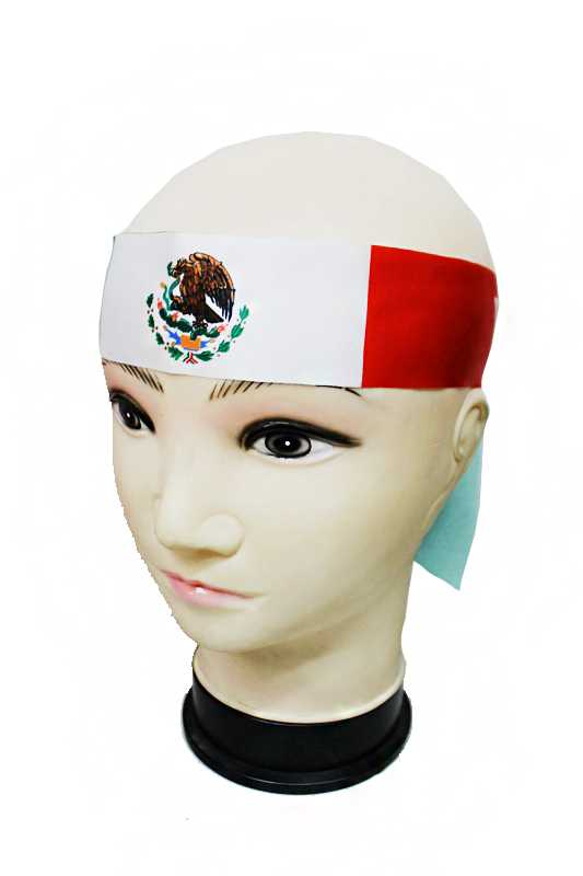 "Mexican Flag Patterned Strap Head Band with Letters ""VIVA MEXICO"""