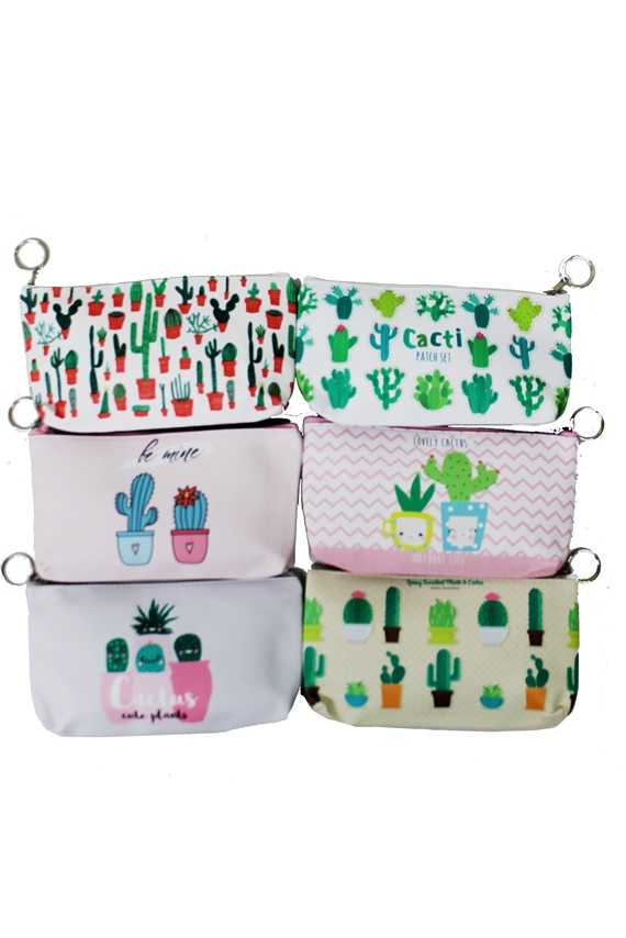 Cactus animated Drawn On Pouch Wallet Bags