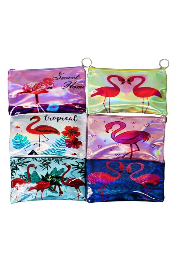 Flamingo animated Drawn On Pouch Wallet Bags