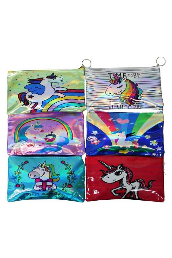 Unicorn animated Drawn On Pouch Wallet Bags