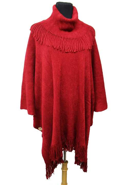 Thick Knit Soft Turtle Neck Poncho with Fringe Buttons