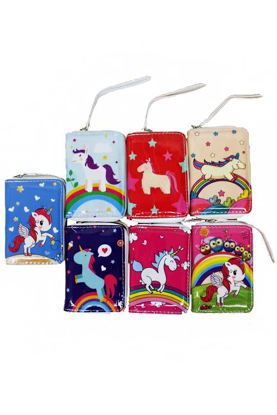 Animated Cartoon-Like Unicorn Printed, Glossed, and Polished Two-Pocketed Wallet with Handle
