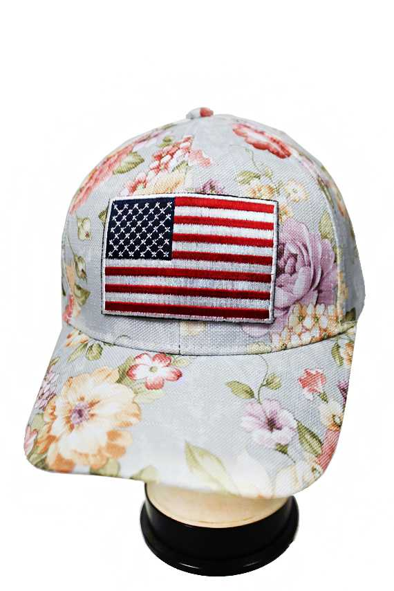 Embroidered Fabric American Flag Patched and Peonies Floral Printed Baseball Cap