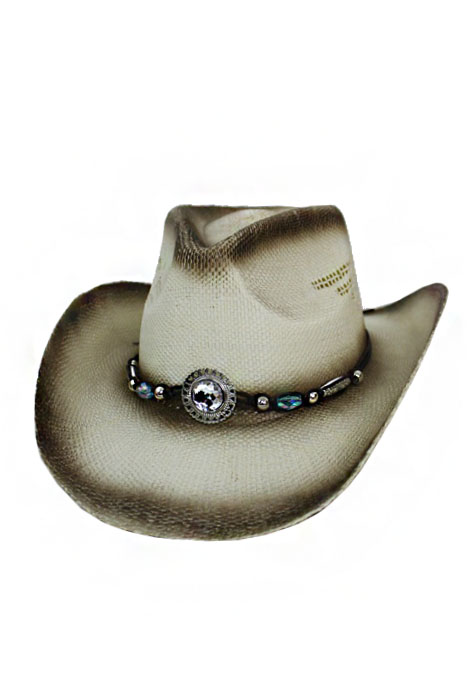 Crystal Gem Bead with Leather Design Strong Straw Cowboy Hat