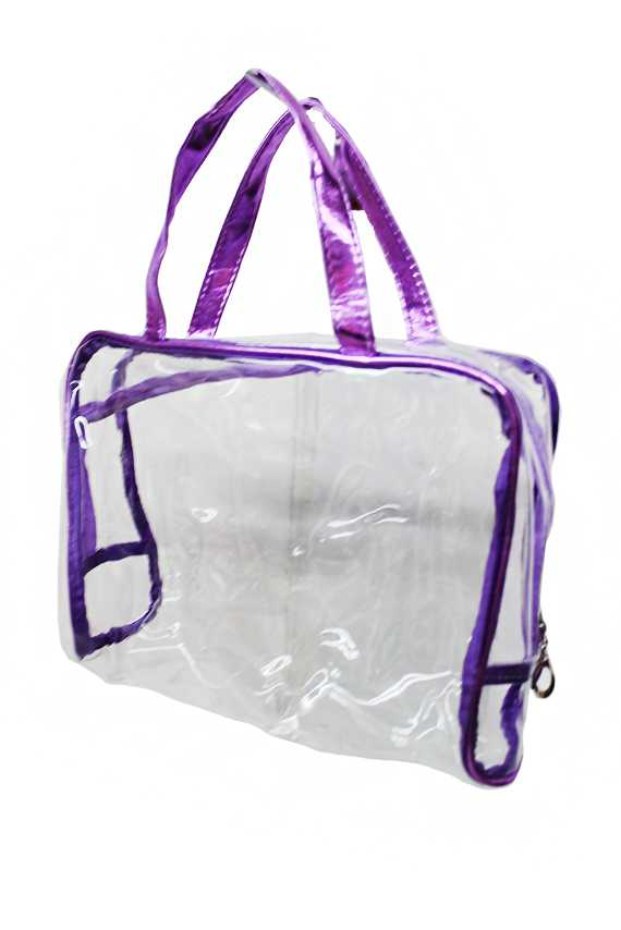 Clear & Soft PVC Satchel Bag with Gloss Outlines and Handles