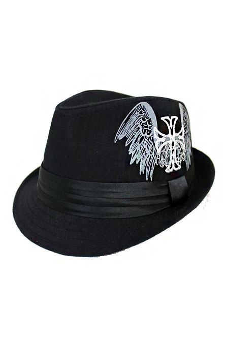 Chopper Wing Print and Embroidery Design Cotton Fedoras
