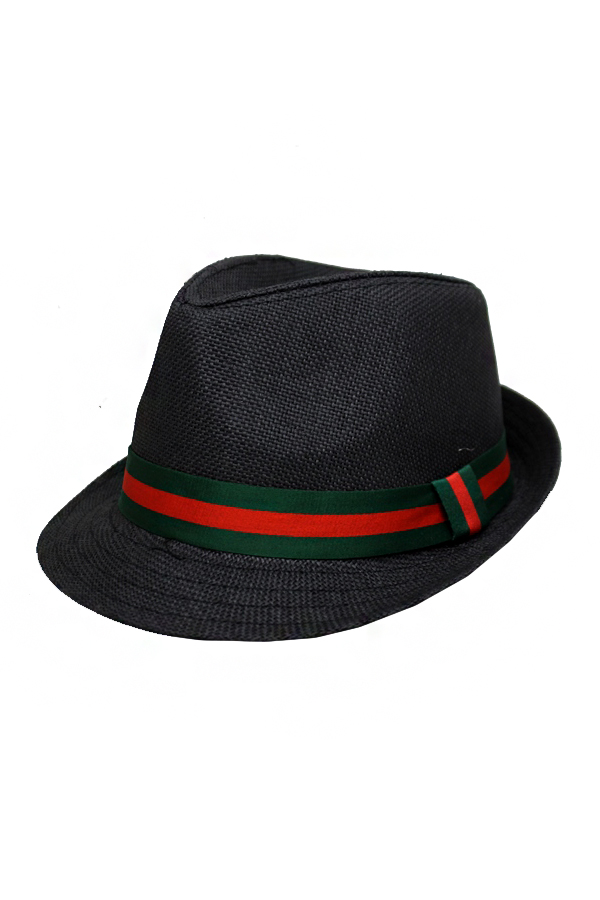Triple Stripe Banded Straw Fedora Hat