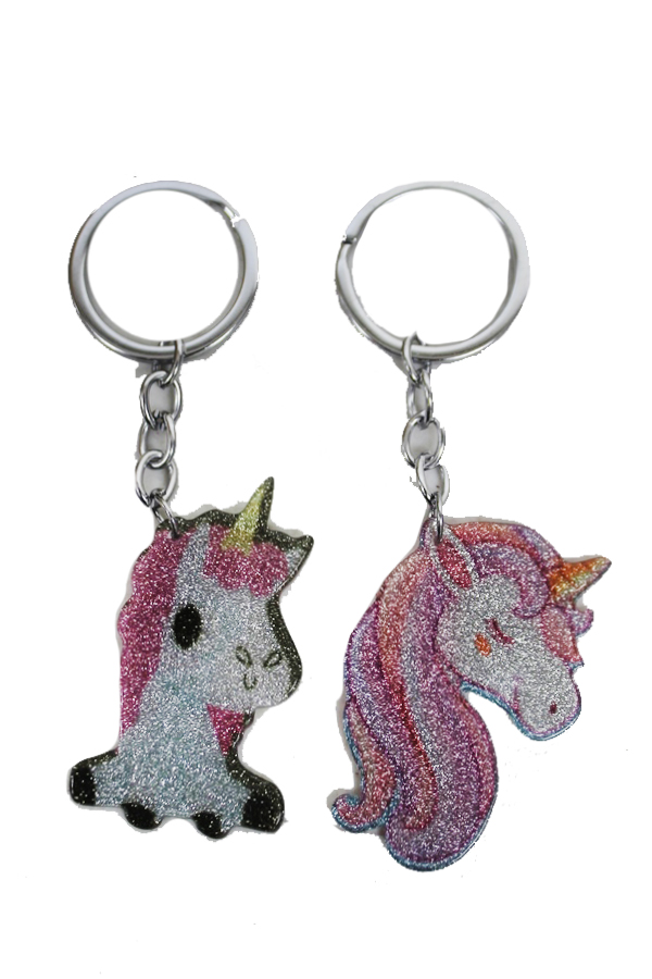Animated and Glittered Unicorn Key Chains