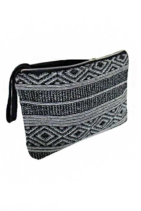 Aztec Pattern Knitted and Diamond Pattern Stitch Blush Reversible Clutch Bag