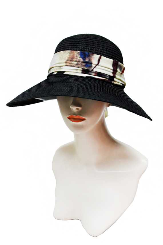 Abstract Painting Printed Chiffon Fabric Bow Banded Large Visor Toyo Straw Sun Hat