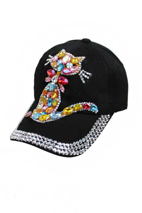 Colorful Bejeweled Kitty Cat Bling Bling Chunky Stone Denim Cap