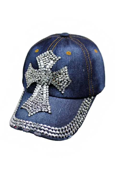Chunky Extra Bling Bling Cross Distressed Denim Caps
