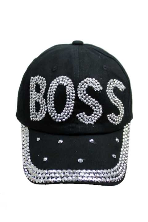 BOSS Clear chunky Stone Bling Bling Denim Distressed Caps
