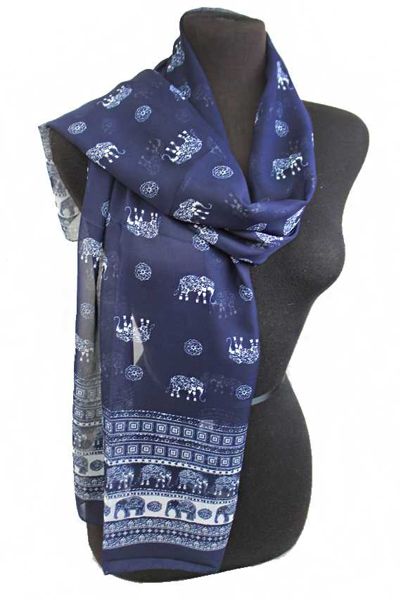 decorative boho MIni Elephant Pattern sheer Chiffon Scarves