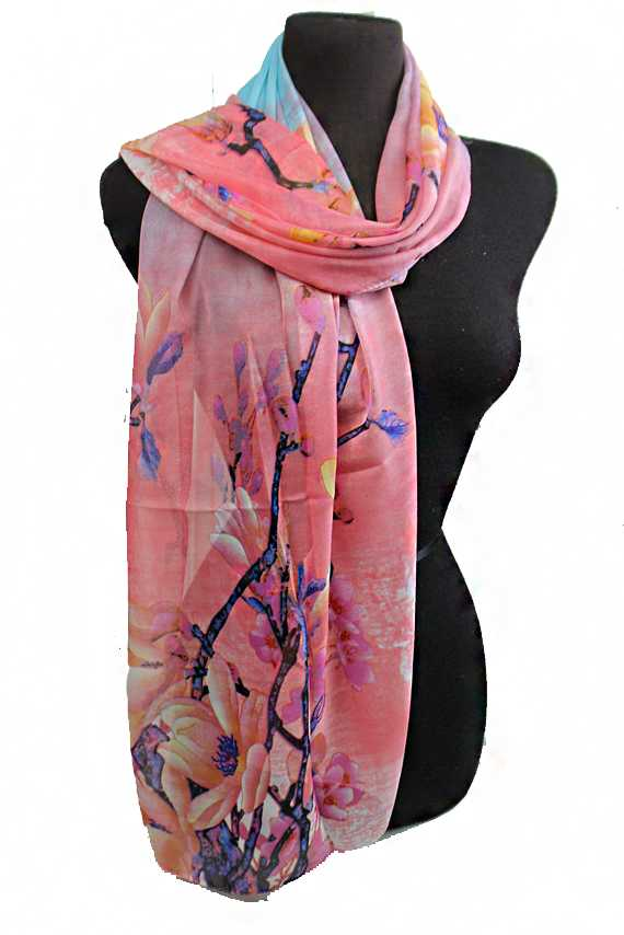 Garden Of cherry Blossom Branches Pattern Sheer Chiffon Scarves