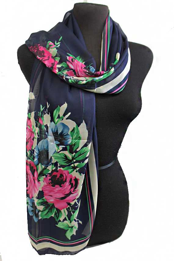 Luxury Full Blossom Floral Designed Sheer Chiffon Scarves