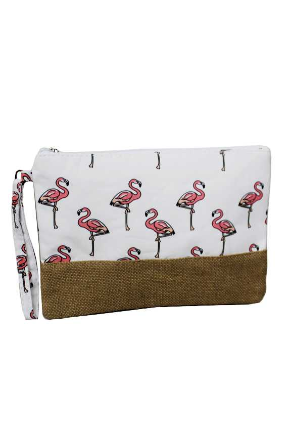 Animated Flamingo Pattern Printed Natural Burlap Clutch Bag