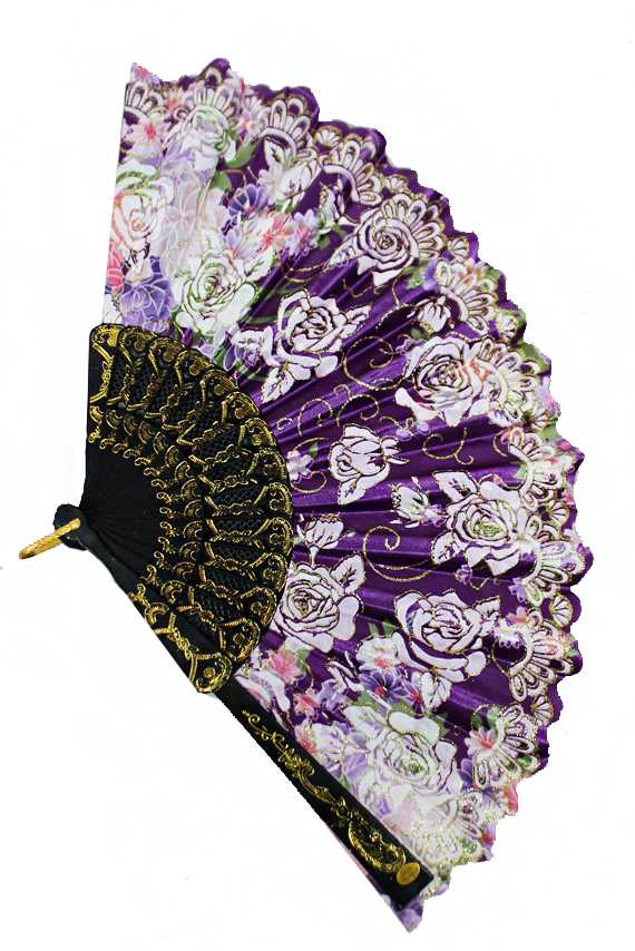 Luxurious and Antique Peonies Floral Printed Traditional Fan