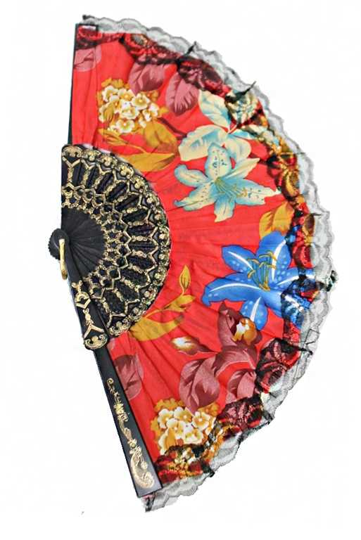 Luxurious and Antique Floral Printed Traditional Fan Finished with Black Lace