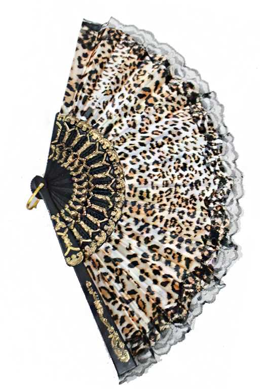 Luxurious and Antique Cheetah Pattern Printed Traditional Fan Finished with Black Lace