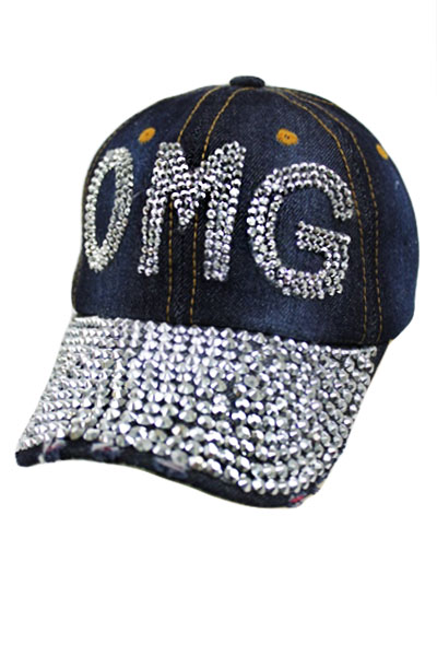 OMG Bling Bling Mirrored Design Denim Cap