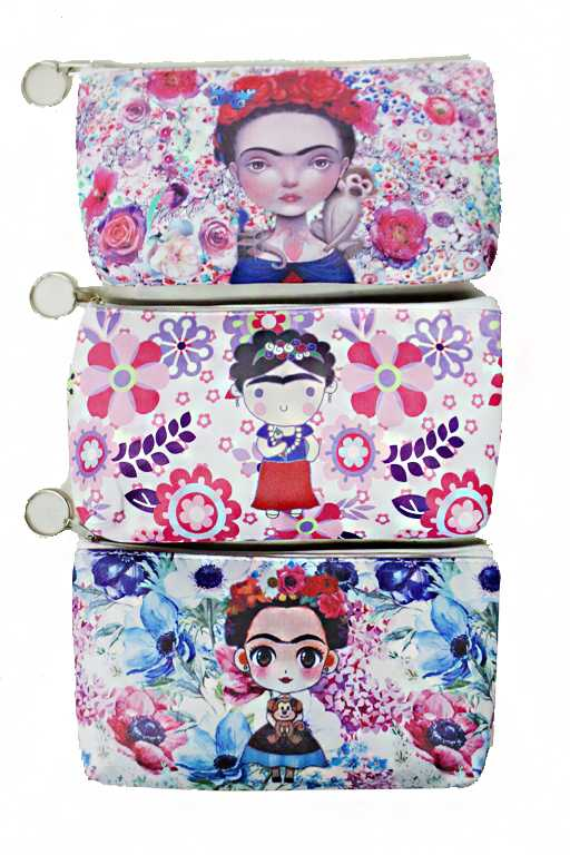 Animated Frida Kahlo and Floral Printed Wristlet Wallet
