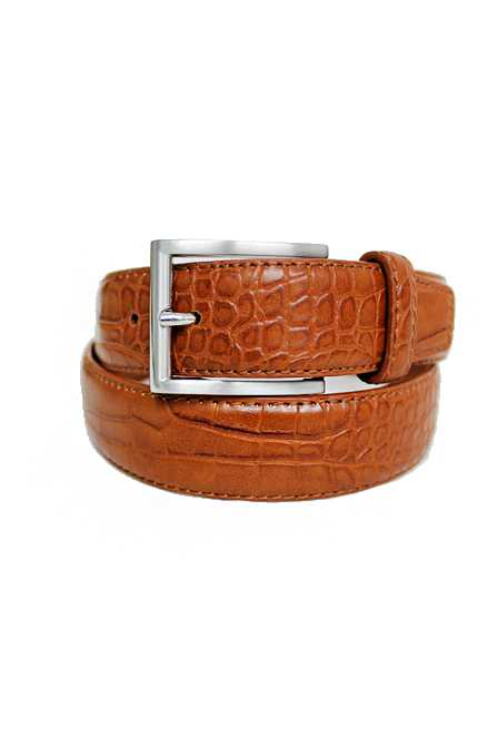 Crocker Alligator Embossed Leather Like Belt