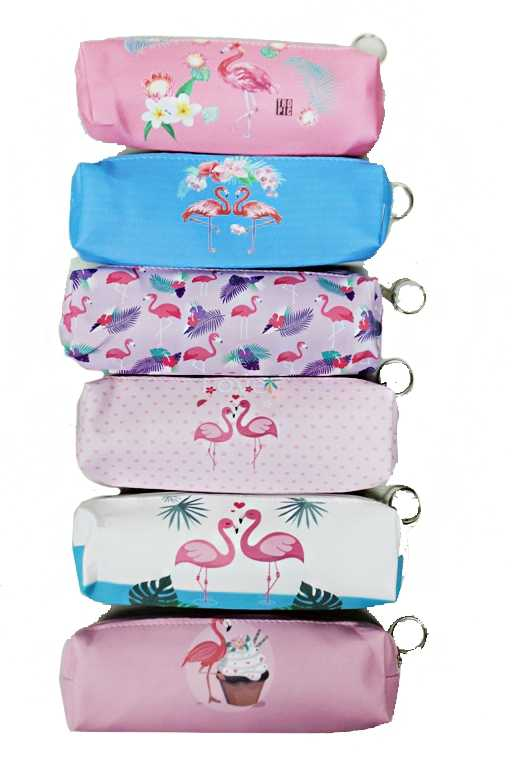 Animated Flamingo Printed Cosmetic Pouch with One Zipper Closure