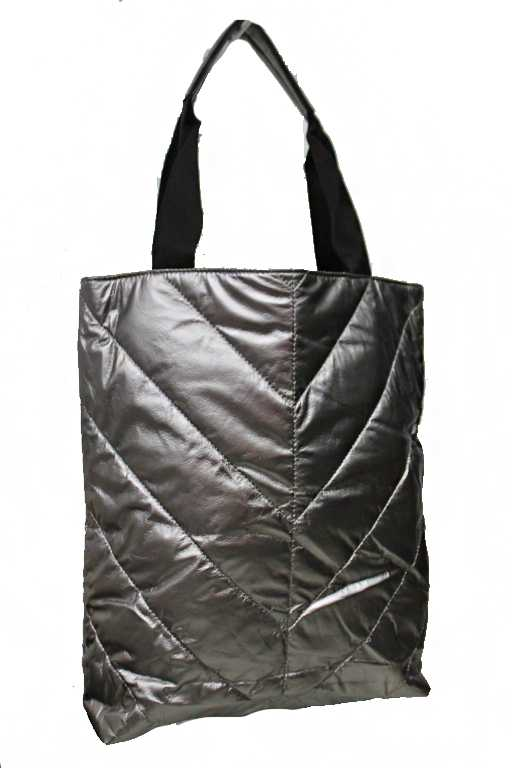 Extra Soft Metallic Nylon Chevron Stitched Pattern Tote Bag