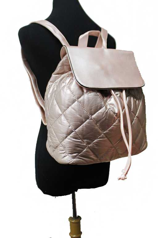 Gloss Finished and Diamond Patterned Fashion Backpack
