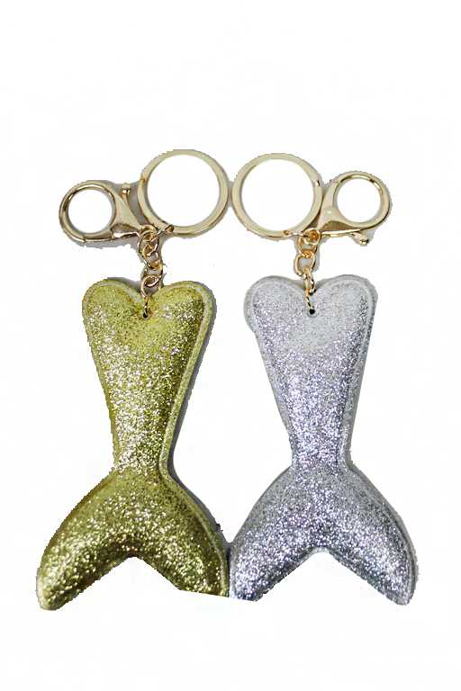 Glittered Mermaid Tail Resembling Charm with Key Chain
