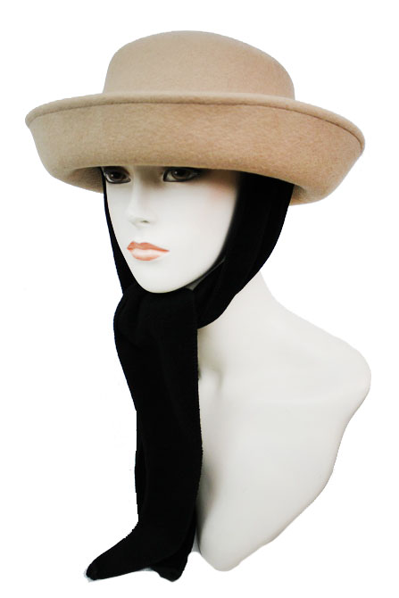 Wool up Brim with Velvet Fabric Ear Cover Design Hat