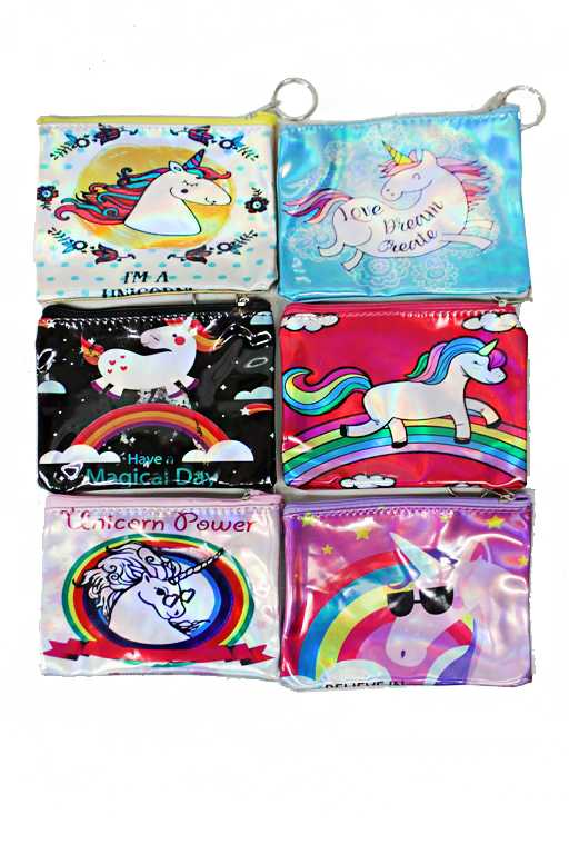 Various Animated Unicorn Printed and Glossed Coin Bag-like Zipper Wallet