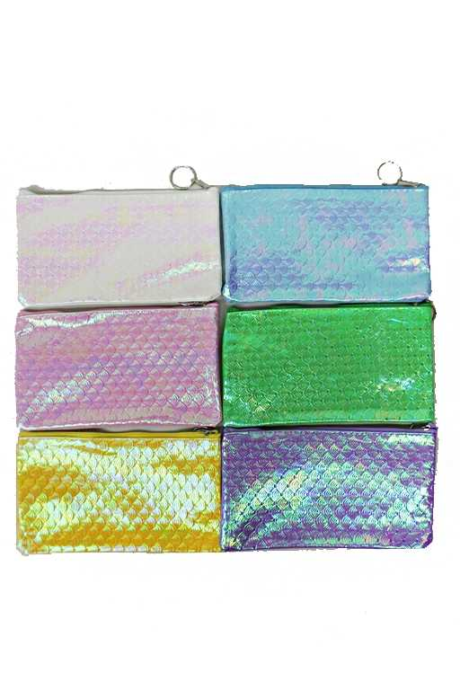 Fish Scale Patterned Hologram Gloss Finished One Zipper Wallet