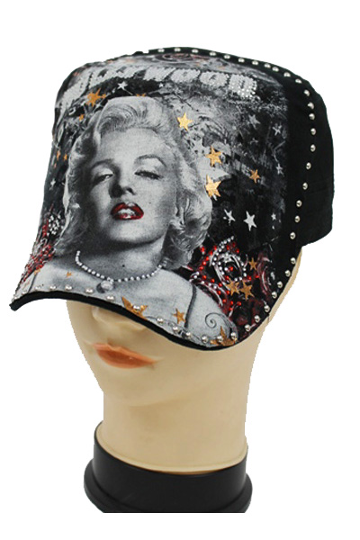 Marilyn Monroe Holly wood Stone Print Cadet Cap.
