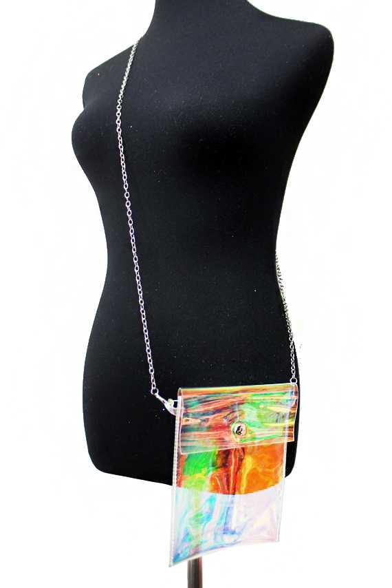Gloss Hologram Textured Cross Body Pocket Bag