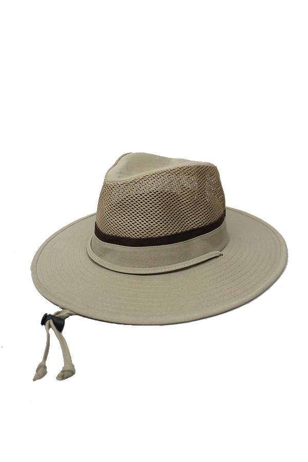 Cotton Breezer Men's Hat with Full Mesh Cap and String for Adjustment