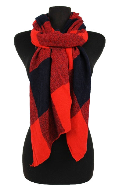 Three Tone Checkered design Cashmere Feel scarf