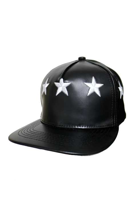 Faux Leather Snapback with Stars on the Panels