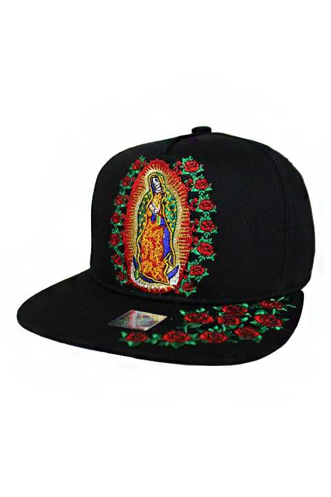 Guadalupe Embroidery Snapback with Roses