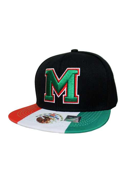 """M"" Embroidery Snapback with Mexican Flag Patterned Bills"