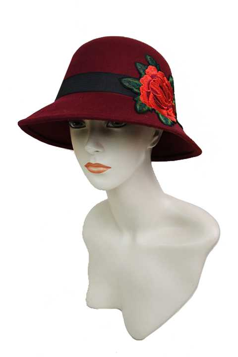 Ladies Wool Felt Bright Red Peony Rose Embroidered Fashion Bucket Hat
