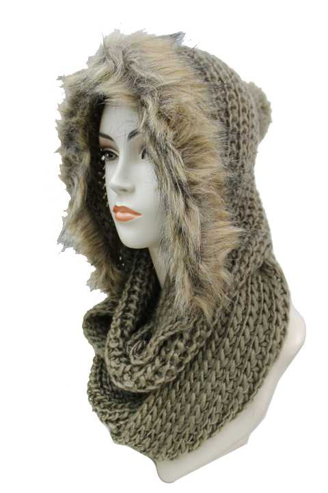 Chunk Knitted Super Softness Hooded Scarves With Faux Fur Trim